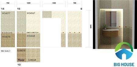 Gạch ốp lát nhà vệ sinh theo cả chiều dọc và chiều ngang độc đáo