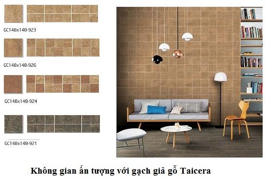 Gạch ốp tường phòng khách Taicera giả gỗ chất lượng
