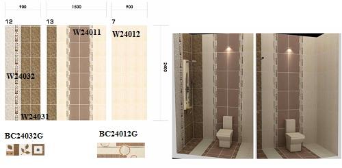 Cách phối màu gạch ốp tường nhà vệ sinh Taicera