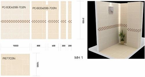 Cách phối màu gạch ốp tường nhà vệ sinh theo chiều ngang