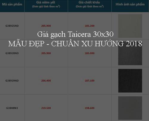 Bảng giá gạch Taicera 30×30 MẪU ĐẸP – Chuẩn xu hướng 2018