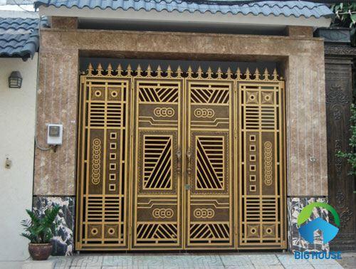 gạch ốp cổng màu vàng 5