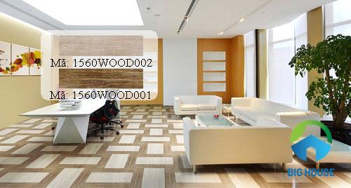 Gạch giả gỗ 15x60 được lát dạng khối độc đáo