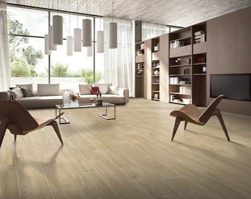 Cách lát gạch giả gỗ cho phòng khách độc đáo