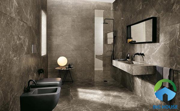 Gạch tone màu nâu xám vân đá là một lựa chọn không tồi để ốp tường nhà vệ sinh