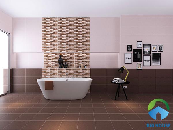 Bạn cũng có thể sử dụng gạch ốp tường với cặp màu tương phản nâu và kem