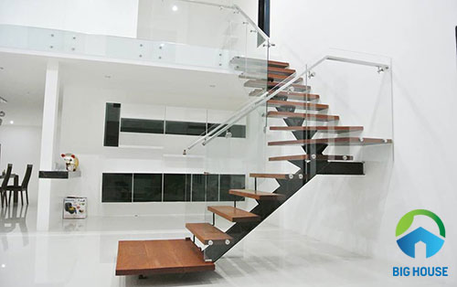 mẫu cầu thang nhà ống 2 tầng đẹp mắt
