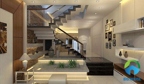 cầu thang nhà ống 2 tầng đẹp tinh tế