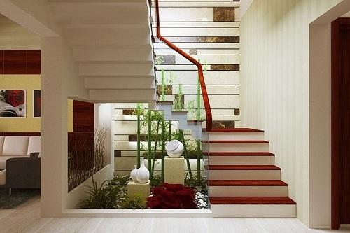Mẫu cầu thang nhà ống 2 tầng