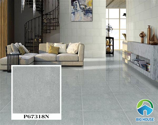Gạch màu ghi với bề mặt phản xạ ánh sáng tốt mang lại sự sang trọng cho không gian