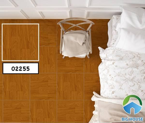 Gạch vân gỗ mang lại sự ấm áp cho phòng ngủ