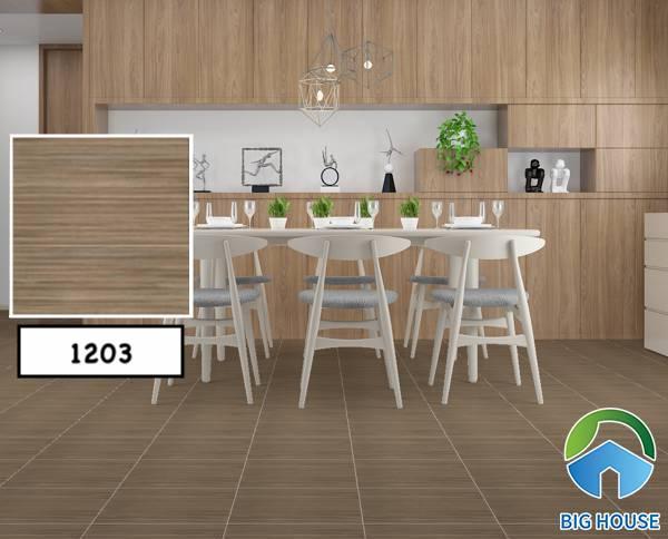 Gạch giả gỗ kết hợp cùng nội thất gỗ đẹp, ấn tượng nhất