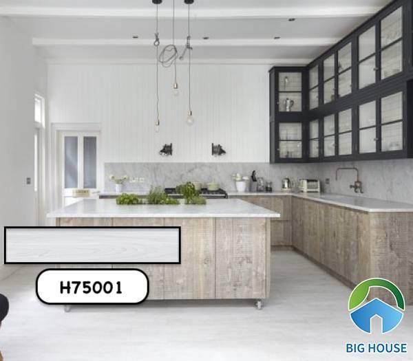 Gạch giả gỗ màu trắng Bạch Mã H75001