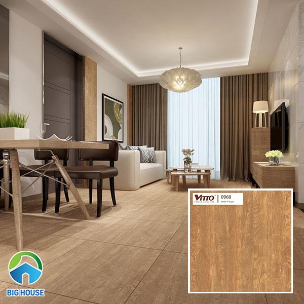 Gạch giả gỗ với bề mặt nhám giúp chống trượt tốt, phù hợp nhiều gia đình