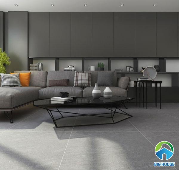 Mẫu gạch granite với gam màu trung tính này mang lại vẻ đẹp hiện đại cho phòng khách