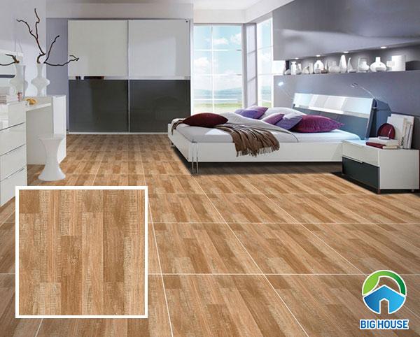 Sử dụng gạch lát nền giả gỗ cho phòng ngủ mang đến không gian ấm cúng