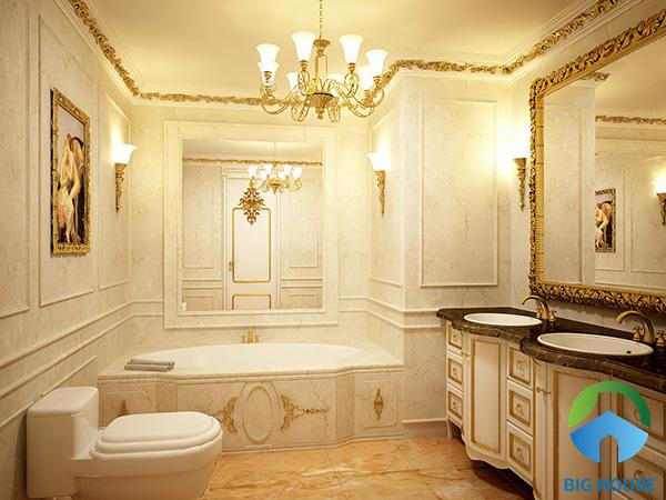 Chọn họa tiết gạch cho phòng tắm phong cách cổ điển Pháp