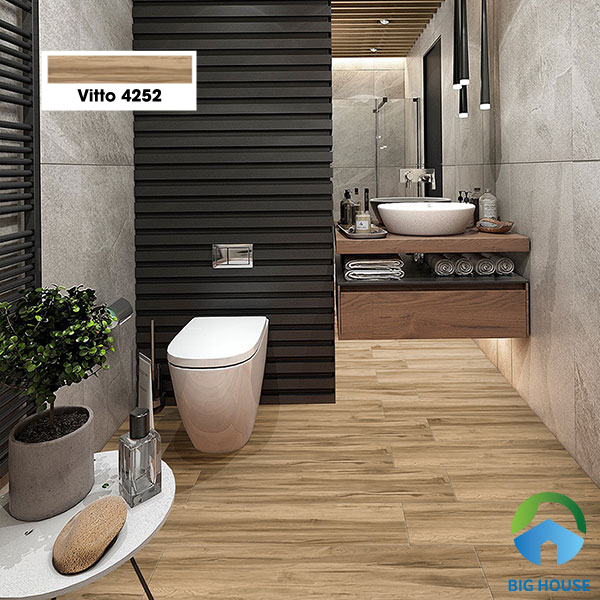 Mẫu gạch Vitto 4252 kích thước 15x80 dạng thẻ giả gỗ có màu nâu đậm. Khả năng chống trơn của gạch rất tốt do sở hữu bề mặt men matt. Chất liệu gạch là porcelain chịu được lực tác động mạnh, chống thấm tốt, không phai màu khi sử dụng