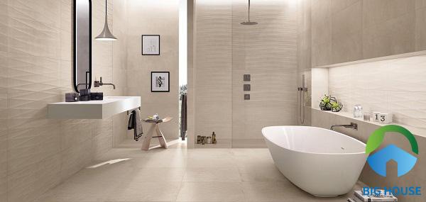 Nhã nhặn, tinh tế nhưng sang trọng cùng gạch ốp lát nhà tắm cùng tông màu