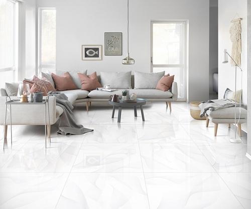 Gạch lát nền màu trắng kích thước 800x800 phù hợp với phòng khách có diện tích lớn
