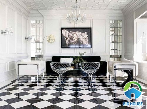 Gạch lát nền màu đen trắng dạng caro tạo nên sự ấn tượng