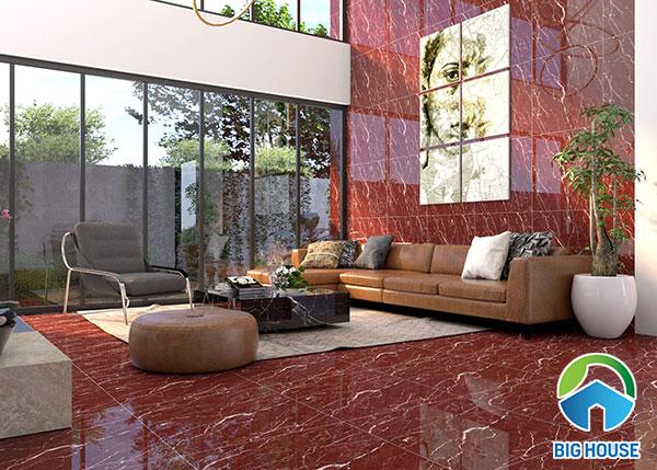 Gạch giả đá màu đỏ kết hợp cả ốp và lát tạo sự khác biệt