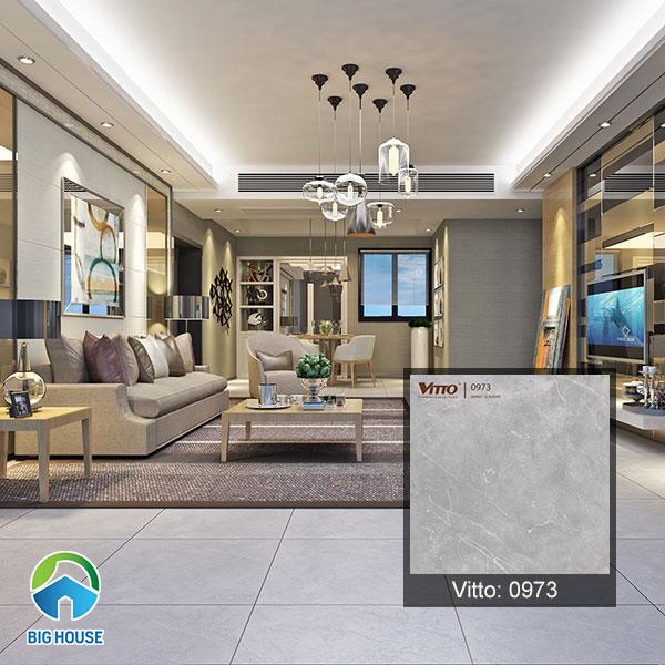 Gạch lát nền màu xám đậm khi kết hợp cùng nội thất tối màu càng làm không gian thêm sang trọng