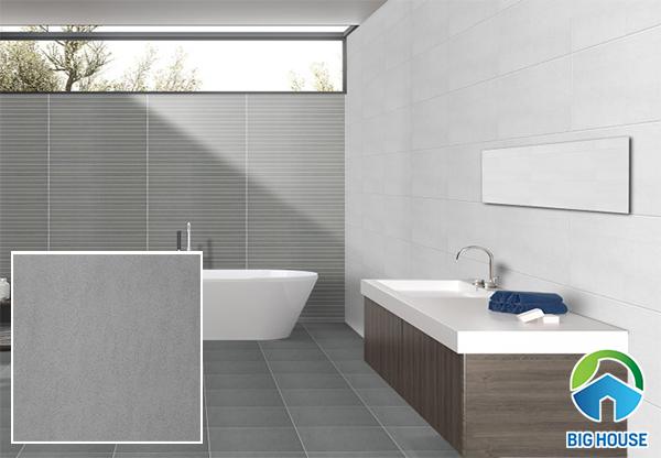 Mẫu gạch màu ghi xám cho nhà vệ sinh sang trọng
