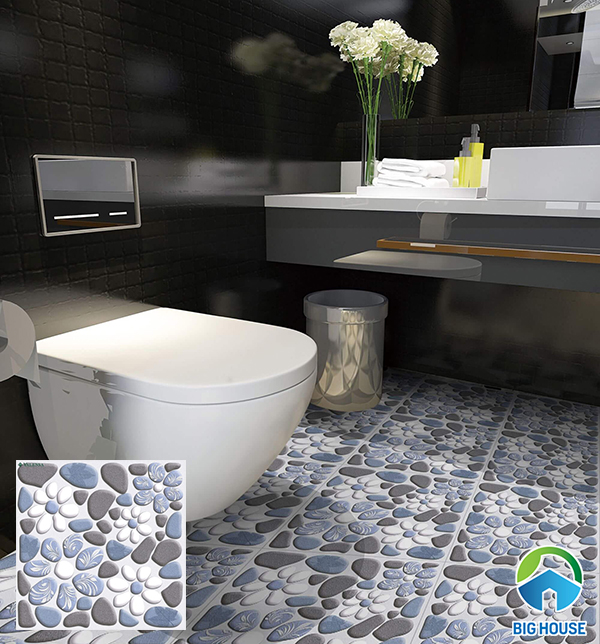 Mẫu gạch lát nền nhà vệ sinh giả sỏi đẹp mắt