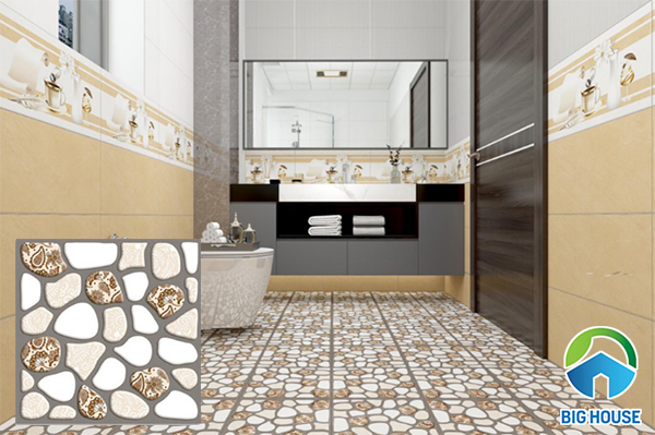 Gạch giả sỏi định hình được sử dụng nhiều cho nhà vệ sinh