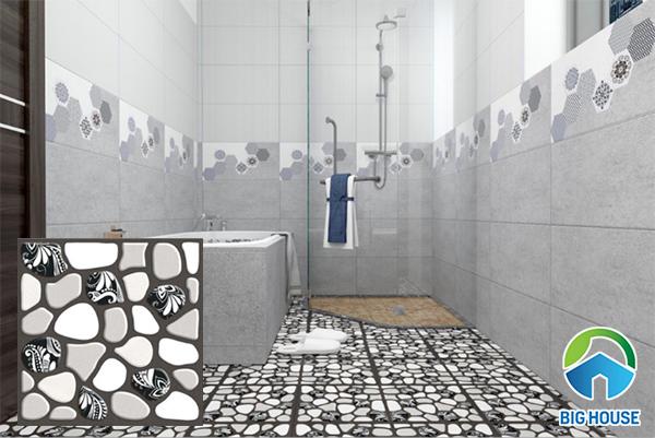 Mẫu gạch lát nền nhà tắm với bề mặt định hình chống trượt