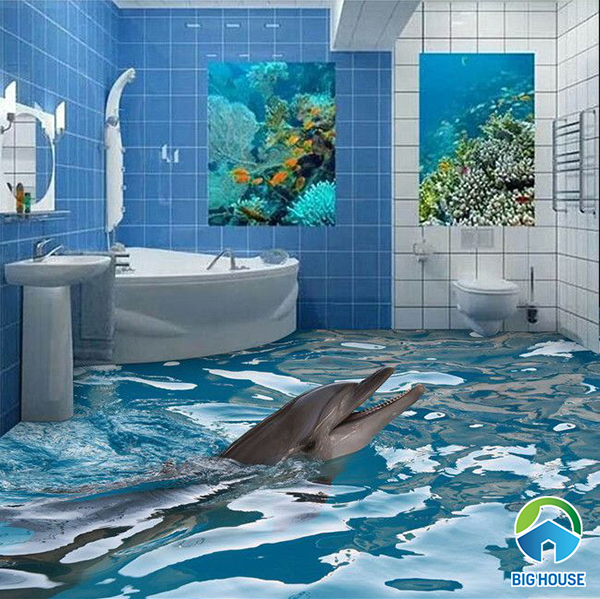 gạch 3d cá biển mang đến sự độc đáo cho nhà tắm