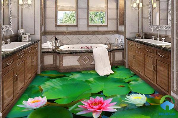 Đắm mình trong phòng tắm với gạch tranh 3D đầm sen thơm ngát