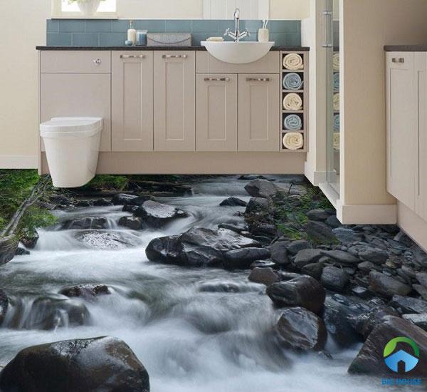 Sàn nhà tắm 3D với suối nước chảy đá mòn sống động