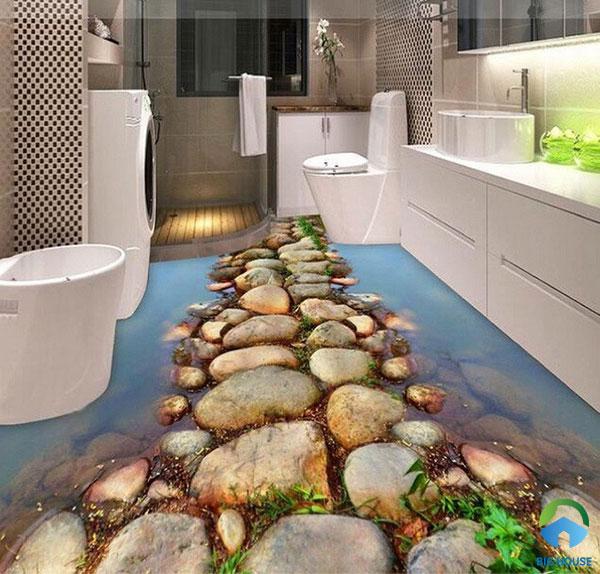Ngạc nhiên đá nhấp nhô xếp thành hàng trong nhà tắm y như thật
