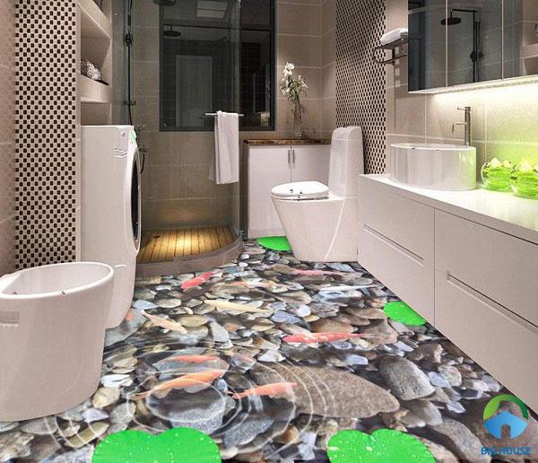 Bước chân vào nhà tắm ngỡ như bước vào hồ cá với những chú cá vàng đang bơi lội tung tăng