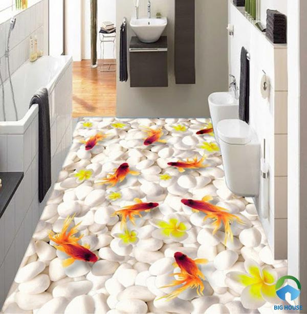 Gạch lát nhà vệ sinh 3D lấy ý tưởng bể cá vàng