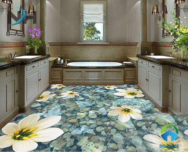 Gạch lát nền nhà tắm 3D có nhiều ưu điểm vượt trội nên rất được ưa chuộng