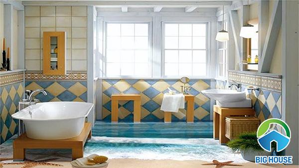 gạch lát nền 3d cho nhà tắm mang đến sự mới lạ