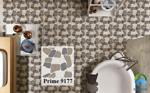 Ấn tượng với phòng tắm lát nền gạch giả sỏi Prime 9177