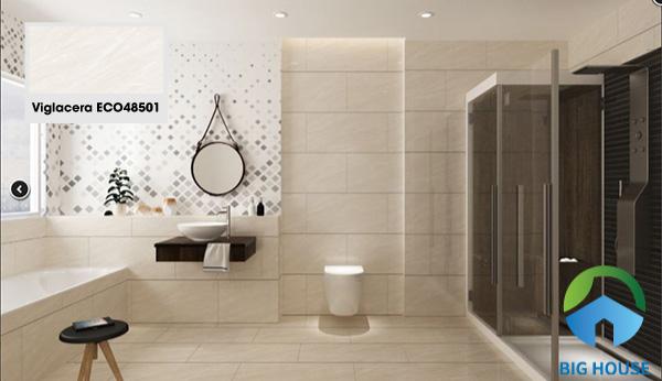 Gợi ý gạch Viglacera ECO48501 lát nền phòng tắm đẹp hoàn hảo