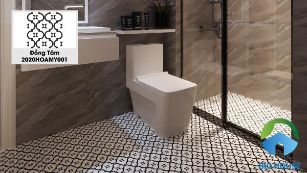 Gợi ý mẫu gạch Đồng Tâm 2020HOAMY001 lát sàn nhà tắm chống trơn tốt. Đây là mẫu gạch bông với họa tiết cổ điểm, hai tone màu đen trắng cơ bản. Tuy đơn giản nhưng rất khác biệt, đồng thời tạo cảm giác gần gũi, thân thuộc