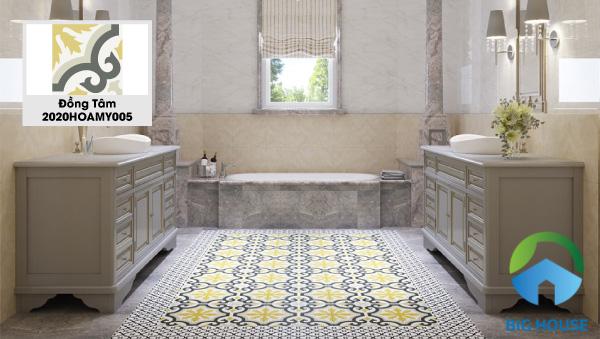 Nổi bật hơn khi sử dụng mẫu gạch Đồng Tâm 2020HOAMY005 lát nền nhà tắm. Vẫn là những hoa văn cổ xưa nhưng màu sắc lôi cuốn và hấp dẫn hơn