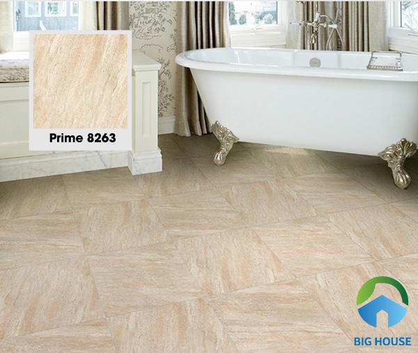Mẫu gạch Prime 8263 60x60 giúp không gian toát lên vẻ đẹp sang trọng. Đồng thời, bề mặt nhám và định hình giúp chống trơn trượt rất hiệu quả. Khả năng chống thấm tốt, không bị trầy xước và rất bền màu sau thời gian dài sử dụng