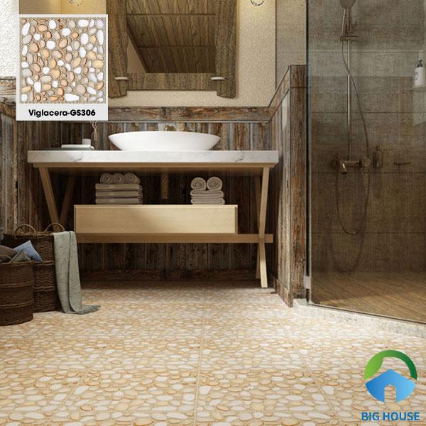 Thêm một mẫu gạch chống trơn lát sàn nhà tắm của Viglacera là GS306. Gạch có vân sỏi nổi 3D chân thực mang đến vẻ đẹp tự nhiên cho công trình