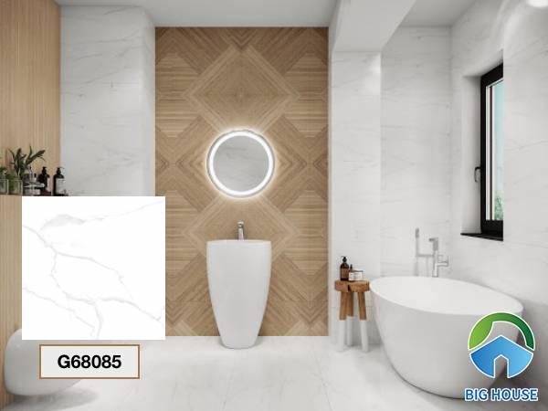 Gạch lát nền nhà tắm màu trắng Taicera G68085