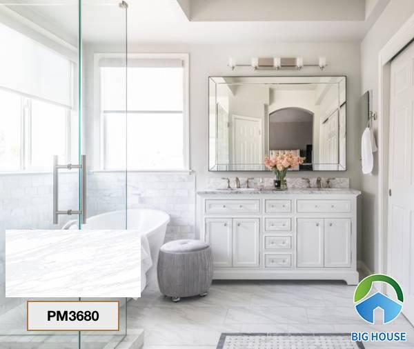Gạch lát nền nhà tắm màu trắng Viglacera PM3680