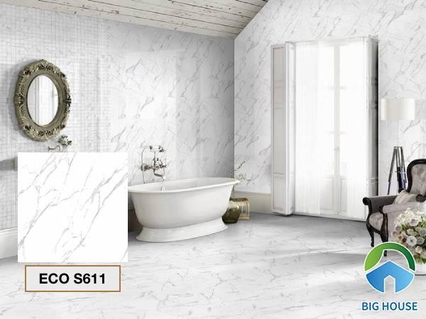 Gạch lát nền nhà tắm màu trắng Viglacera ECO S611