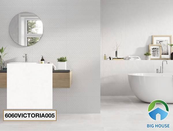 Gạch lát nền nhà tắm màu trắng Đồng Tâm 6060VICTORIA005
