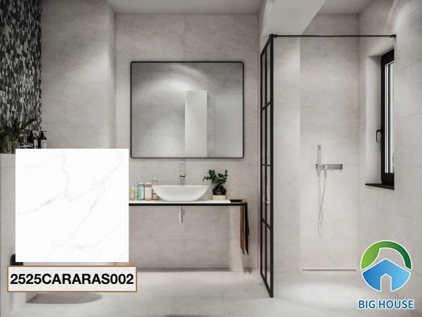 Gạch lát nền nhà tắm màu trắng Đồng Tâm 2525CARARAS002